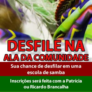 Desfile com a X-9 Paulistana no próximo Carnaval!!!